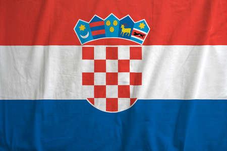 Realistic wavy flag of Croatia.