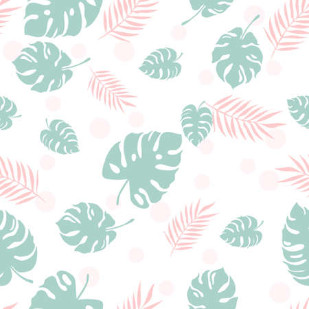 Beautiful pattern with monstera and palm leaves, seamless texture can be used for wallpapers, pattern fills, surface textures.