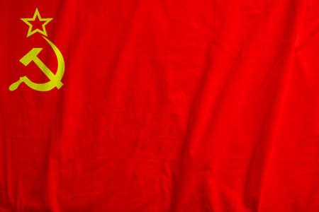 Historic flag of USSR waving.
