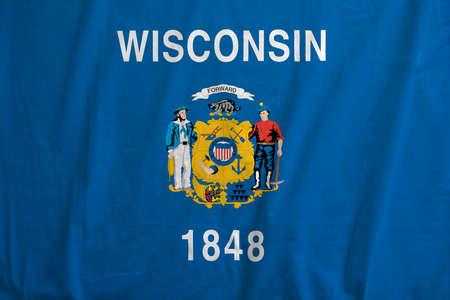 Flag of Wisconsin, USA waving. Reklamní fotografie