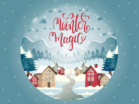 Glass ball illustration with snowy village and Marry Christmas landscape and lettering. Ilustrace