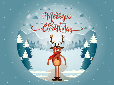 Glass ball illustration with Reindeer Marry Christmas landscape and lettering. Ilustrace