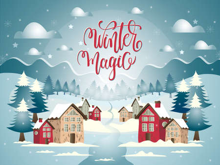Vector cartoon illustration with snowy village and Marry Christmas landscape and lettering.