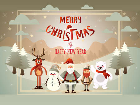 Vector cartoon illustration with cute set of Marry Christmas and lettering.
