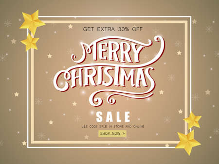 Merry Christmas sale banner with shining stars decorated. Ilustrace