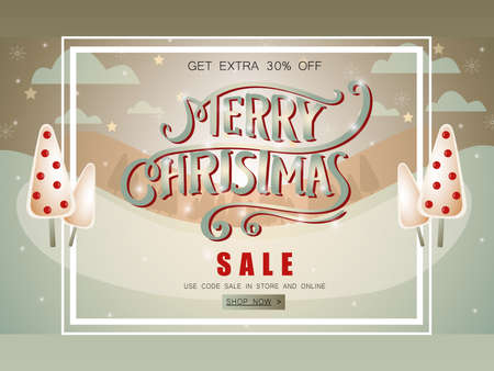 Landscape snowy sale banner with hand lettering. Ilustrace
