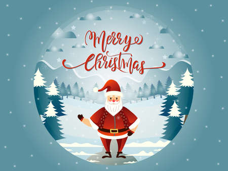 Glass ball illustration with Santa Claus Marry Christmas landscape and lettering. Ilustrace