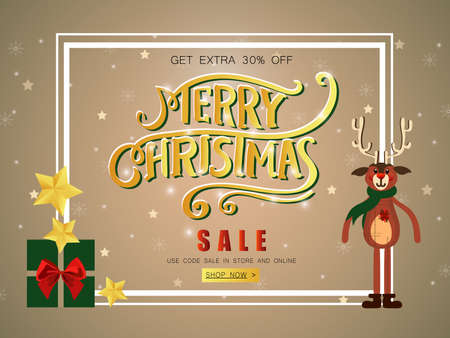 Merry Christmas sale banner with reindeer, shining stars and gifts decorated.