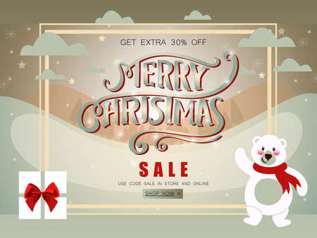 Merry Christmas sale banner with polar bear, shining stars and gifts decorated.