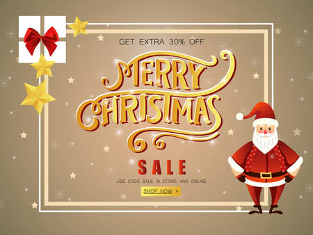 Merry Christmas sale banner with Santa Claus, shining stars and gifts decorated.