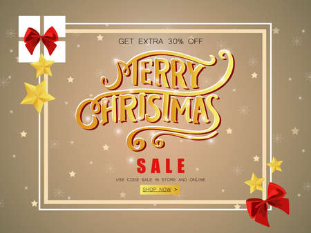 Merry Christmas sale banner with shining stars.
