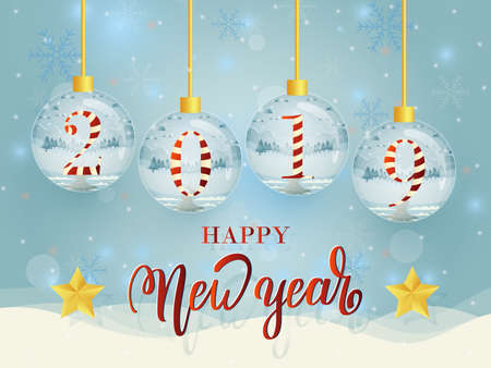 Set of Happy New Year glass ball collection for stocking Christmas decorations.