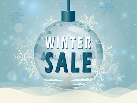 Vector illustration of winter sale poster template with lettering text and snowflake.