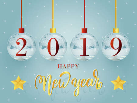 Happy New Year 2019 greeting card template design with glass ball collection.