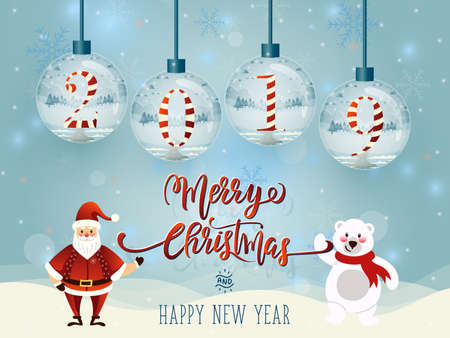 Merry Christmas 2019 greeting card template design with Santa Claus and snowman Reklamní fotografie