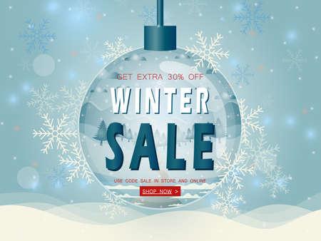 Vector illustration of winter sale poster template. Reklamní fotografie