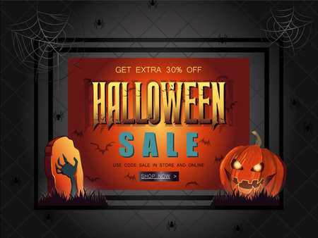 Halloween Sale vector illustration with lettering, pumpkin and zombie hand. Great for voucher, offer, coupon, holiday sale. Ilustrace