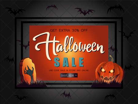 Halloween Sale vector illustration with pumpkin and orange backg Reklamní fotografie