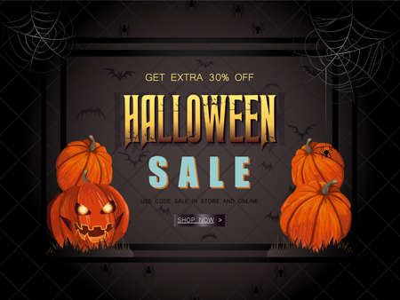 Halloween Sale vector illustration with lettering and detailed b