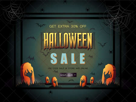 halloween Sale vector illustration with lettering and zombie han