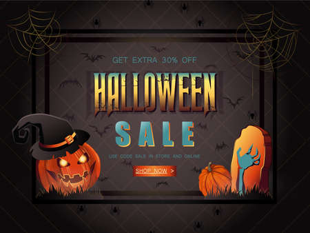 Halloween Sale vector illustration with lettering, pumpkin with hat and zombie hand. Great for voucher, offer, coupon, holiday sale.