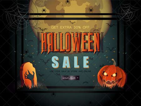 Halloween Sale vector illustration with lettering and pumpkins.