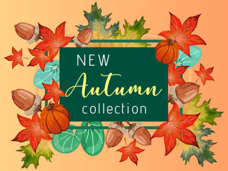 New collection banner for Autumn with colorful seasonal fall leaves, rowan and pumpkin for shopping discount promotion.