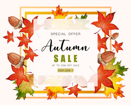 Banner for Autumn sale with colorful seasonal fall leaves, rowan and acorns for shopping discount promotion.