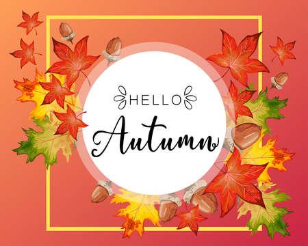 Hello Fall lettering in autumn decorative leaves frame. Reklamní fotografie