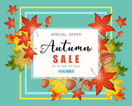 Banner for Autumn sale with fall leaves. Reklamní fotografie