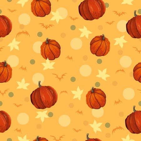 Seamless patern with orange pumpkin and polka dots.