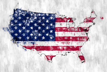 Flag of USA with Grunge Wall texture.