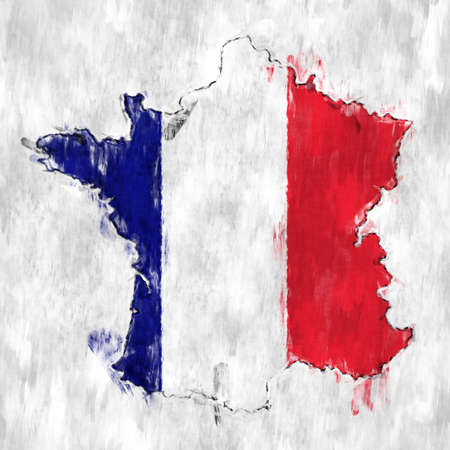 Flag of france with Grunge Wall texture.