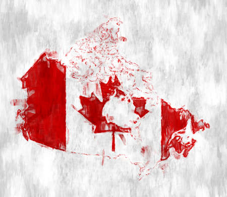 Flag of Canada with Grunge Wall texture.