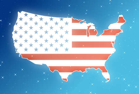 Map of USA isolated  in the sky.