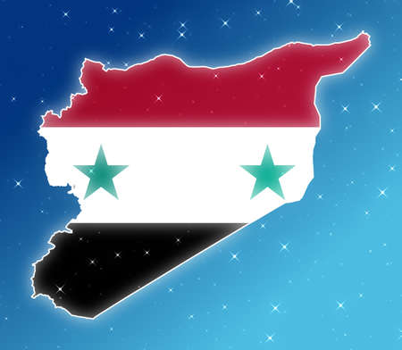 Map of Syria isolated  in the sky.