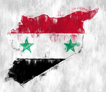 Flag of Syria with Grunge Wall texture. Reklamní fotografie