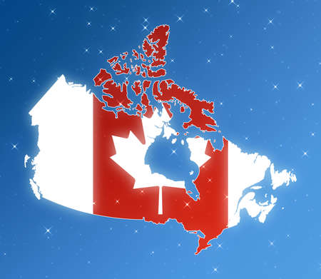 Map of Canada isolated in the sky.