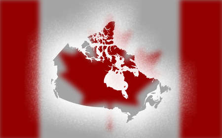 Map of Canada isolated in Snow painted.