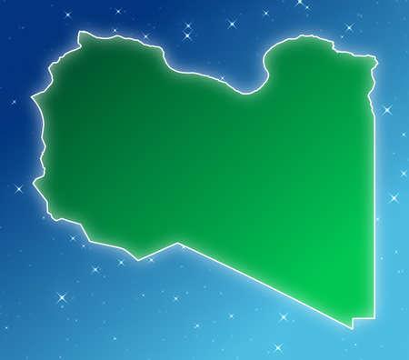 Libya national flag on blue sky background.