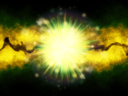 Green and Yellow lights with abstract background.