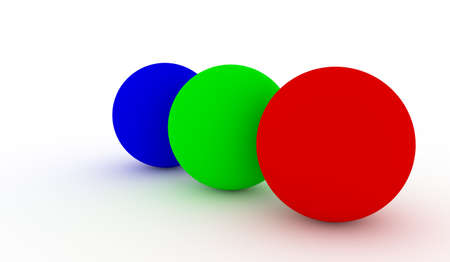RGB Coloured Balls Isolated on white Background.