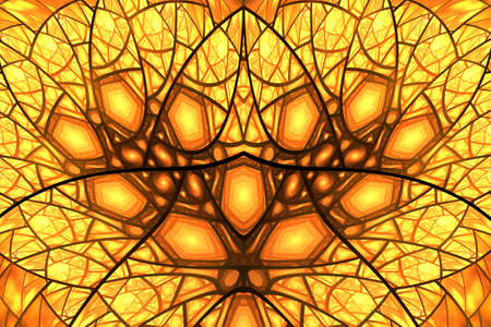 Abstract yellow, orange and brown fractal design.