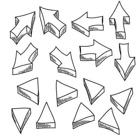 Illustration of some handdrawn arrows and triangles.