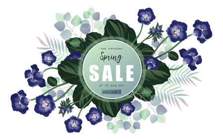 Spring sale banner with blue flowers on a eucalyptus background.