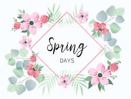 Spring sale banner with sakura flowers and eucalyptus.