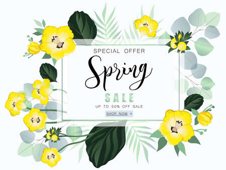 Spring sale banner with wild flowers and eucalyptus. Ilustrace