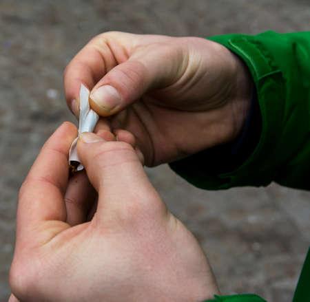 bad habit: Rolling the cigarette