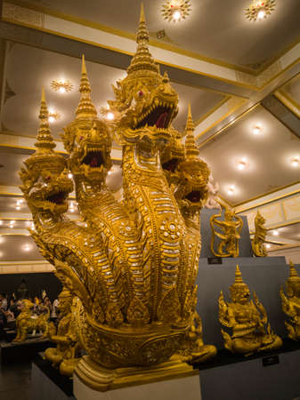 King of Nagas with 5 heads Statue in Royal Cremation Ceremony for the late King Bhumibol Adulyadej Zdjęcie Seryjne
