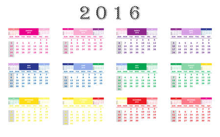 calend�rio: Calendar 2016